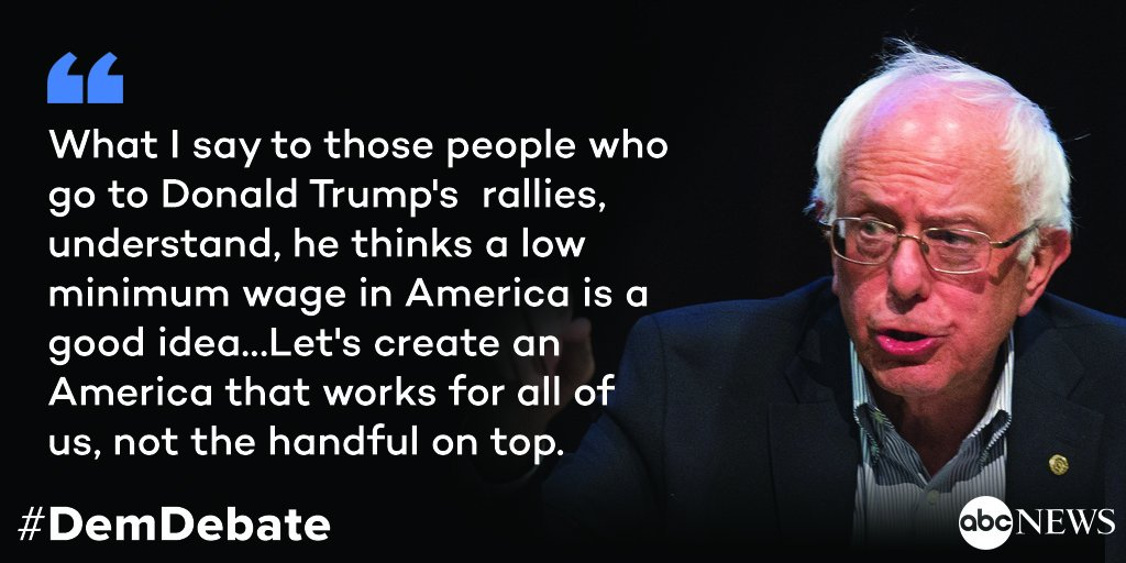 @BernieSanders to Trump supporters: 'Let's create an America that works for all of us, not the handful on top.'