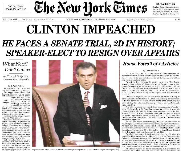 Image result for impeaching bill clinton
