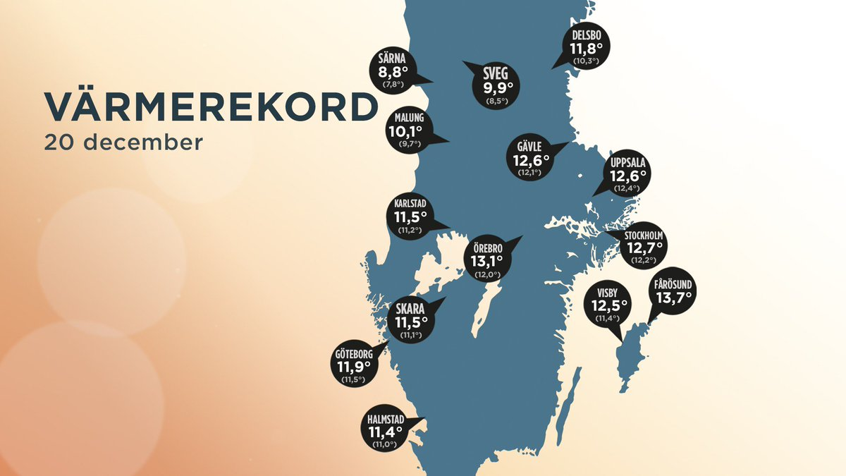 Karta med några av dagens värmerekord. Map with some of today´s heat records. Carte avec des records d´aujourd´hui.