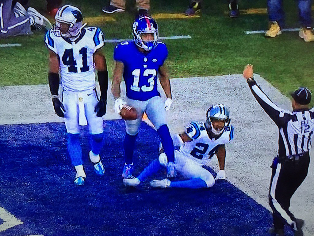Odell Beckham goes full Iverson and steps over Josh Norman after catching touchdown pass https://t.co/LHnXIpbYC5