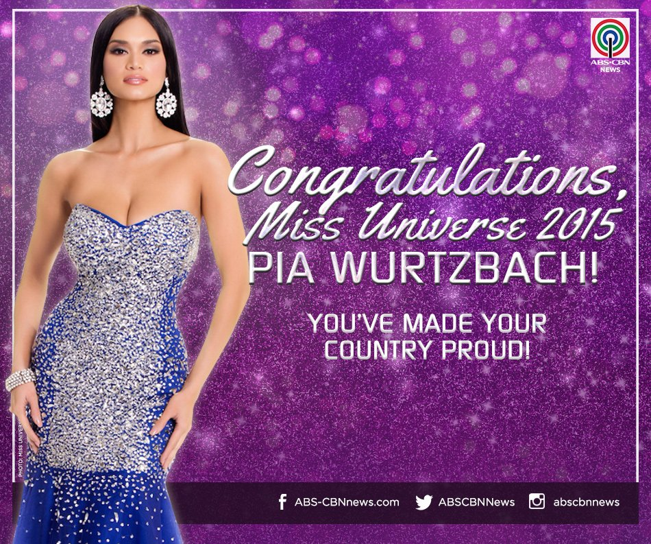 JUST IN: @PiaWurtzbach takes home the crown! Congratulations, Pia! #MissUniverse2015 https://t.co/QNikFxDaet