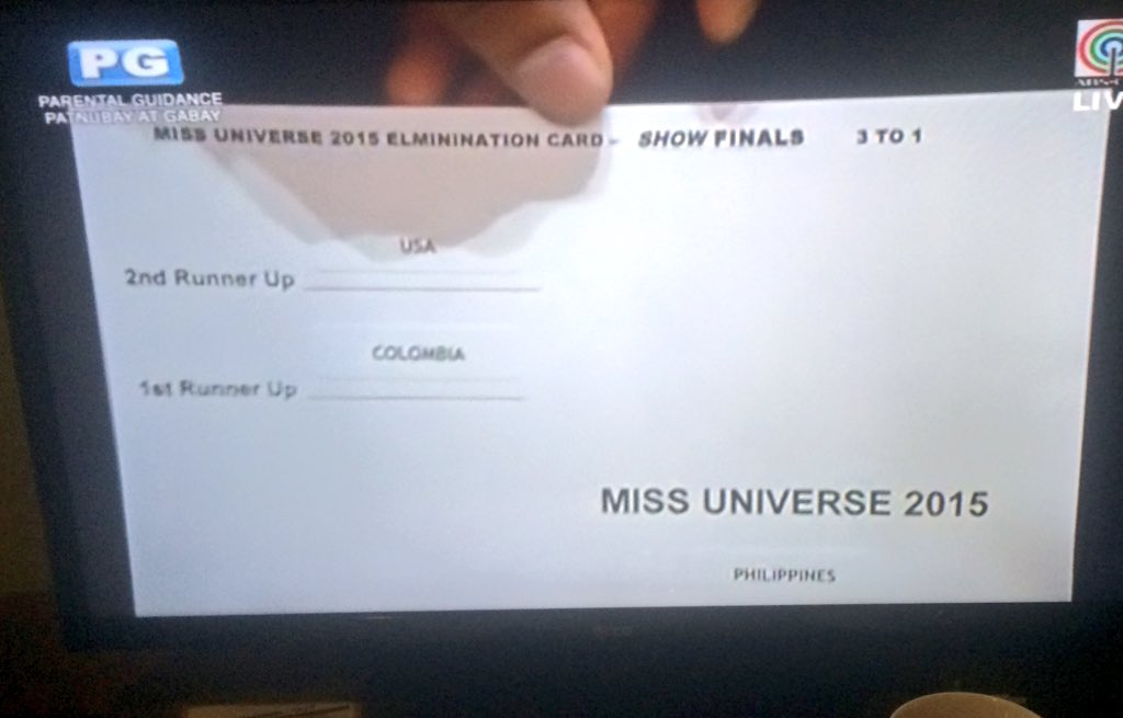 This card is arranged terribly. I didn't even see Ms. Universe at the bottom at first. https://t.co/p3ZvLAGjyI