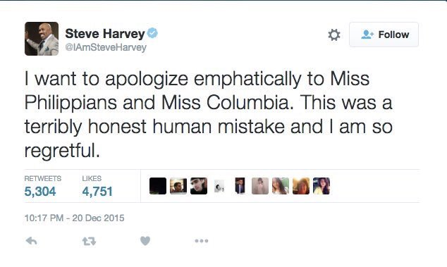 Looks like @IAmSteveHarvey deleted his tweet after misspelling. That's two for two. Ouch. #MissUniverse2015 https://t.co/sqqoFZa2hT