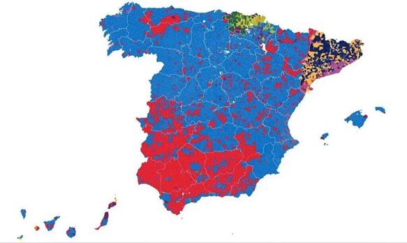 #Catalonia:  Pro-independence (ERC+DiL), 17 Pro-referendum (Podem), 12 Unionism (Cs+PP), 10 Federalism (PSOE), 8