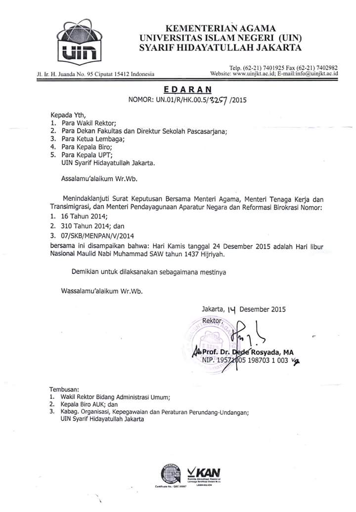 Sps Uin Jakarta On Twitter Surat Edaran Rektor Tentang