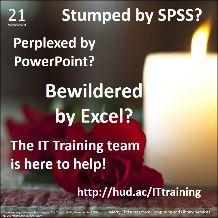 For #hudlibadvent Day 21, here's a message from the helpful elves of IT training... https://t.co/ibdUeo5mbd https://t.co/t8AGYZDpKp