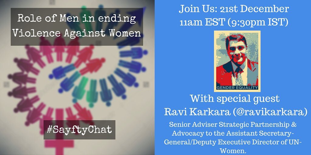 TODAY Looking forward to joining @NamrataSadhvani @SayftyCom @kapoors_s on Role of Men in Ending #VAW  9:30pm IST https://t.co/bgV336arwP