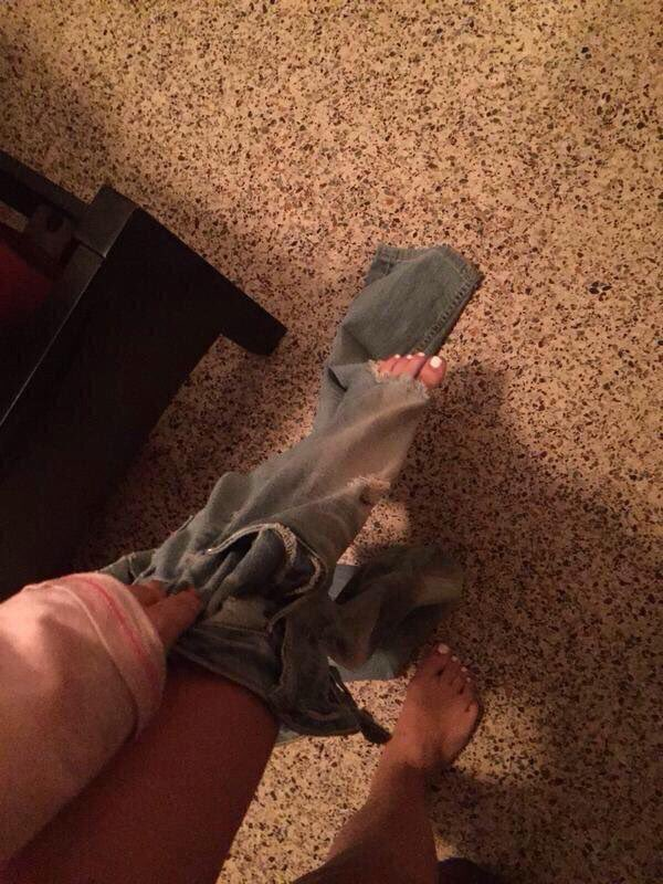 The struggle of having ripped jeans