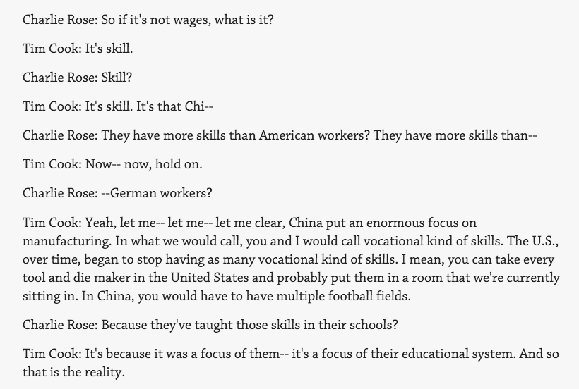"""The most American question by Charlie Rose to Tim on Chinese labor. """"They have more skills than American workers?"""" https://t.co/2akPlSQgWs"""