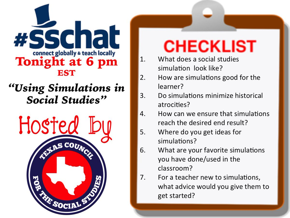 #sschat will be starting soon. Chatting about classroom simulations. Come on in & introduce yourselves. https://t.co/nXo4a0Nosi