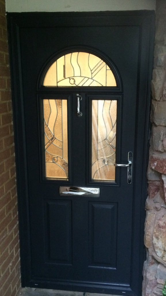 THE DOOR COMPANY on Twitter  Simply doors before u0026 after photos of the Solidor Conway in anthracite grey with abstract glass! & THE DOOR COMPANY on Twitter: