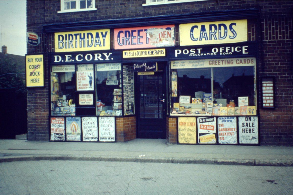 Found slides from the 1950s and 1960s, including this gem of my grandparents newsagents in Corby. https://t.co/lB919wgdsc