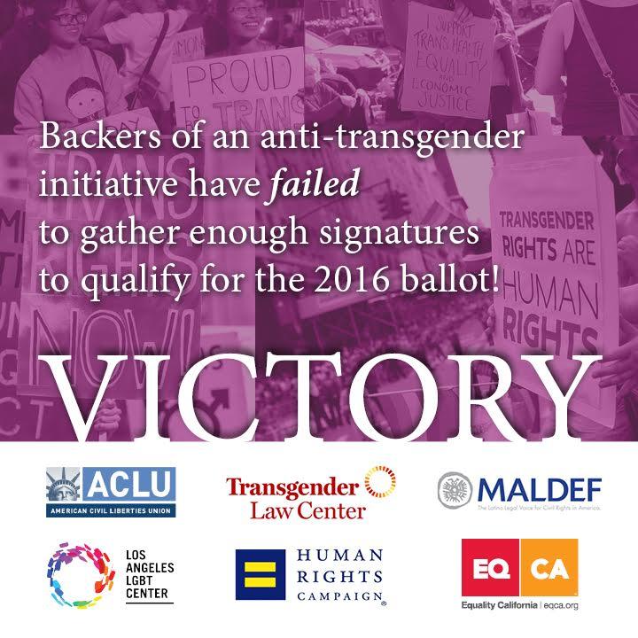 Anti-transgender activists fail to qualify for the 2016 ballot! WE WIN! https://t.co/mCI2jsmdR4 https://t.co/NnSak1HEqA