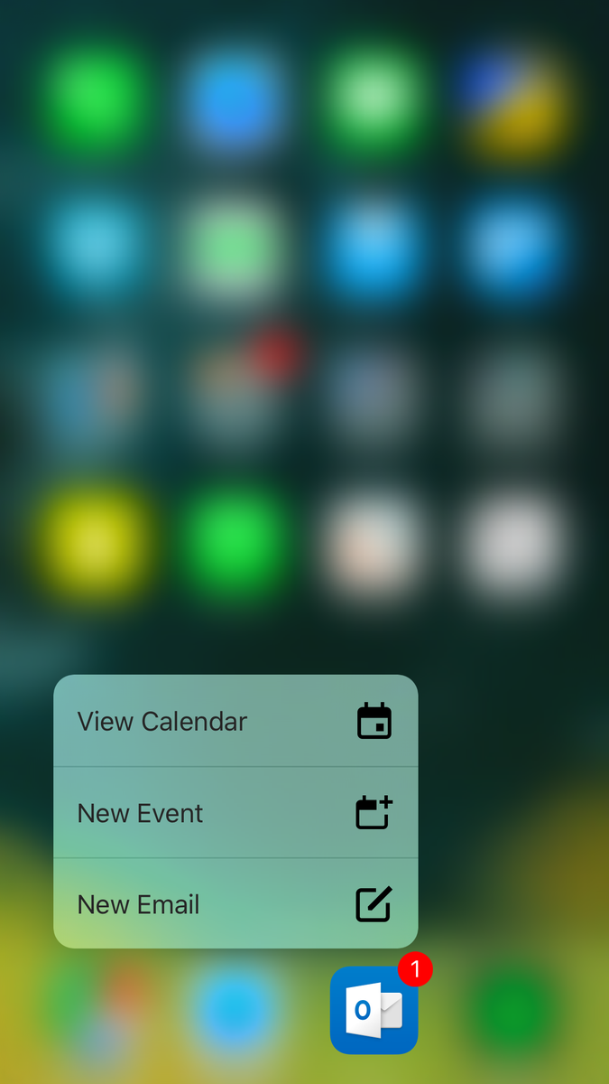 Outlook is a great mail and calendar app. Didn't think that would happen. Love the 3D Touch options too. https://t.co/itOkld0NIF