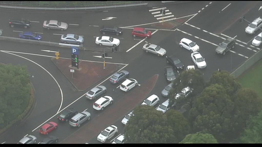 Our 7 news helicopter is over castle hill  two hour traffic jam for