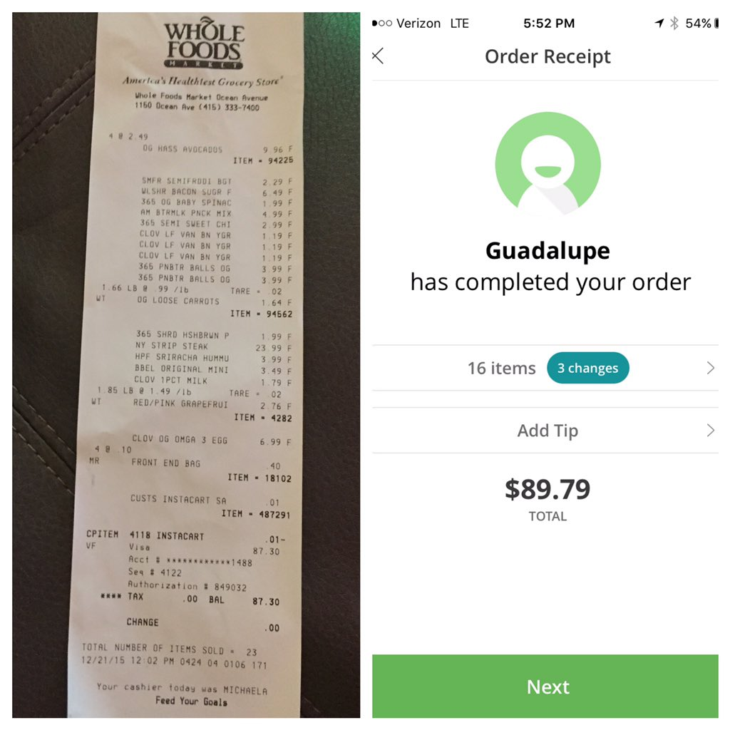 .@Instacart accidentally put my receipt in my groceries so I got to compare what I paid vs what they paid https://t.co/NSDQyEYxTP