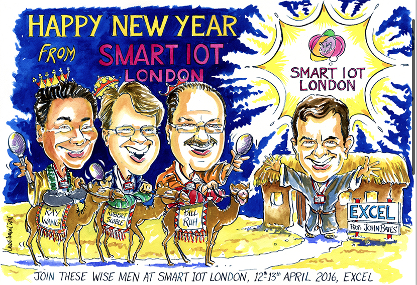 Cartoon showing three wise men riding camels, captioned 'Join these wise men at Smart IoT London, 12th-13th April 2016, Excel'