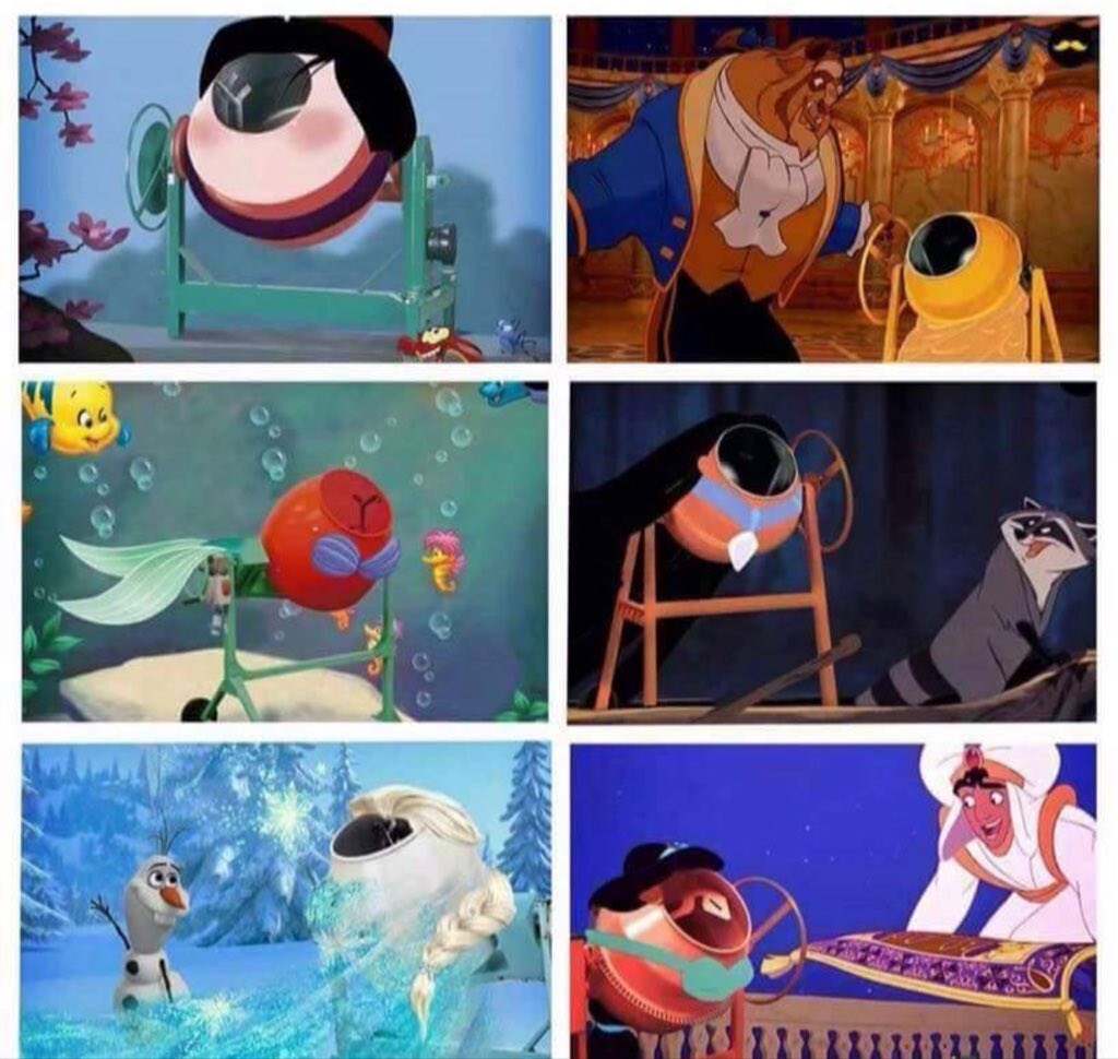 Disney princesses reimagined as cement mixers. https://t.co/HrEHxJu5j5