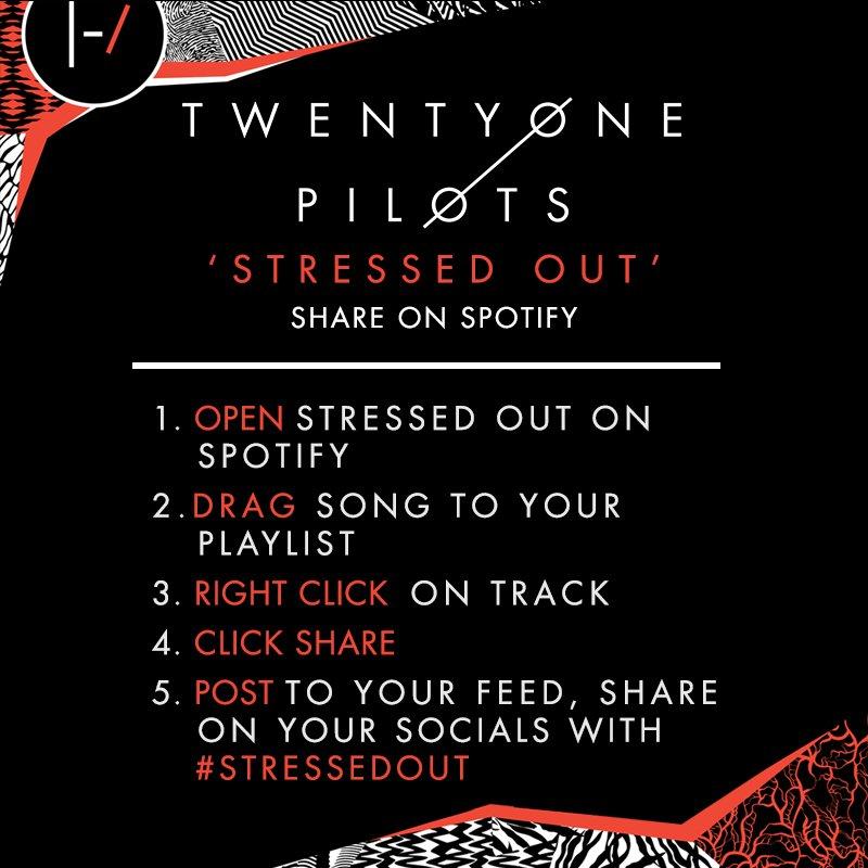 Help us push @twentyonepilots 'Stressed Out' in Spotify! https://t.co/mLHwQUDM8Z
