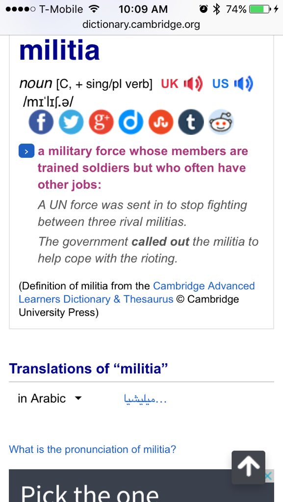 Hey @MSNBC @cnn Looked up 'militia' in 4 dictionaries for you. You can stop using the word. #OregonUnderAttack https://t.co/pRFxfsYWv2