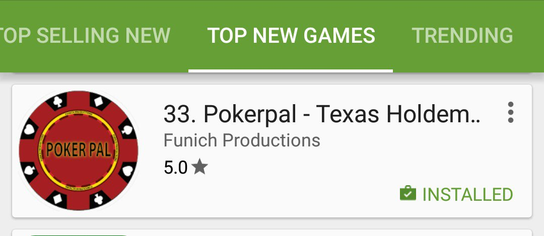Pokerpal still climbing the #top new #games section #poker #indiedev #gamedev #apps #google pic.twitter.com/4oSsr0Tr7I by @funich2014