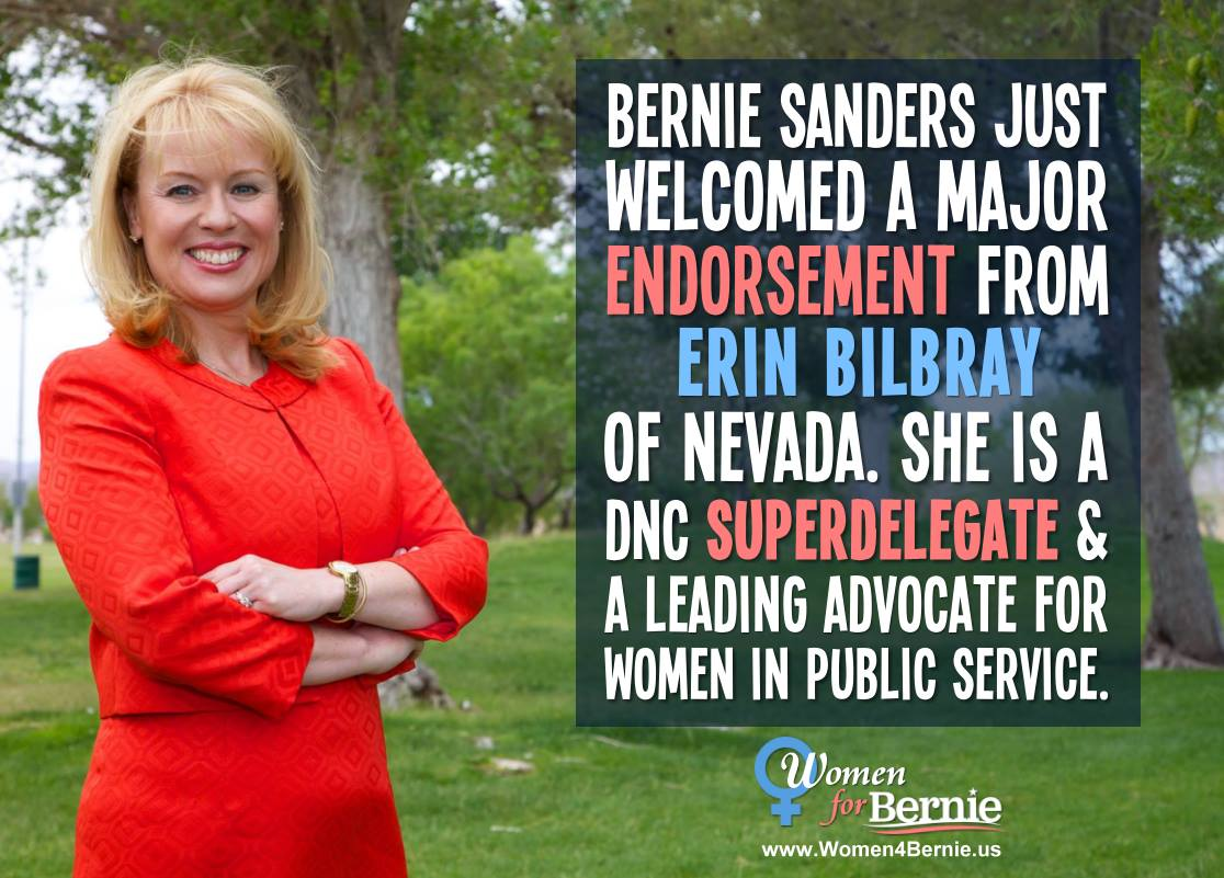 Bernie just gained another superdelegate! She's Erin Bilbray from Nevada and she's awesome! https://t.co/R7KFqlbEPQ https://t.co/EkkpU59NIT