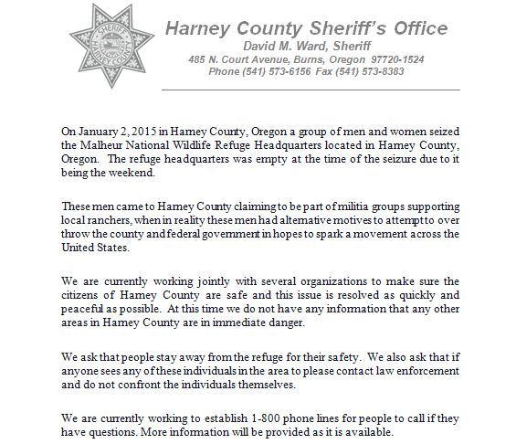 Statement from Harney County Sheriff regarding 'militia' group in Burns, Oregon. https://t.co/xLsjYvWHKL #KOIN6News https://t.co/yk5MPz6JcT