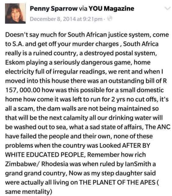 What will @HerschelJawitz say when he sees this 2014 planet of apes post by #PennySparrow (employed at @JawitzProp) https://t.co/btSqVY7Ht7