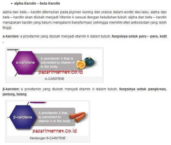 Kandungan Alpha karoten dan beta-karoten