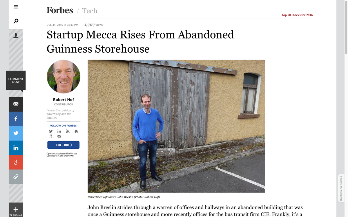 Startup Mecca Rises From Abandoned Guinness Storehouse [@PorterShed] https://t.co/qEtY57bnik Thanks @RobHof @Forbes! https://t.co/zRnQIABqnu