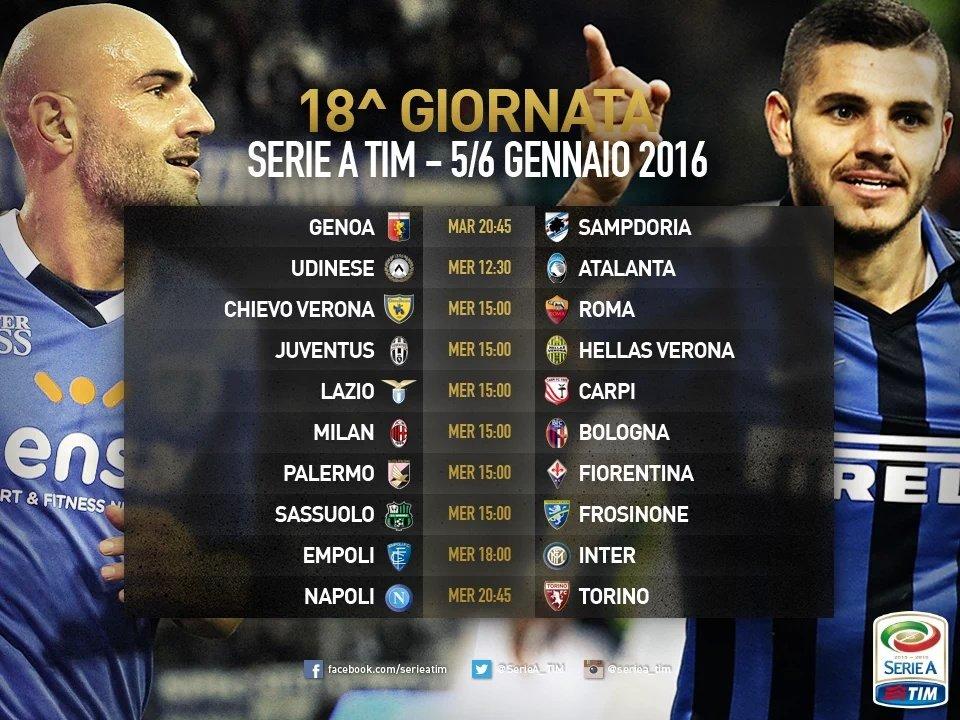 Calcio Serie A, la prima giornata dell'anno 2016 in diretta streaming, quote scommesse