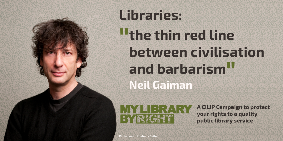 "Libraries: ""the thin red line between civilisation and barbarism"". Thanks @neilhimself for #MyLibraryByRight support https://t.co/F06Yq3NMOj"