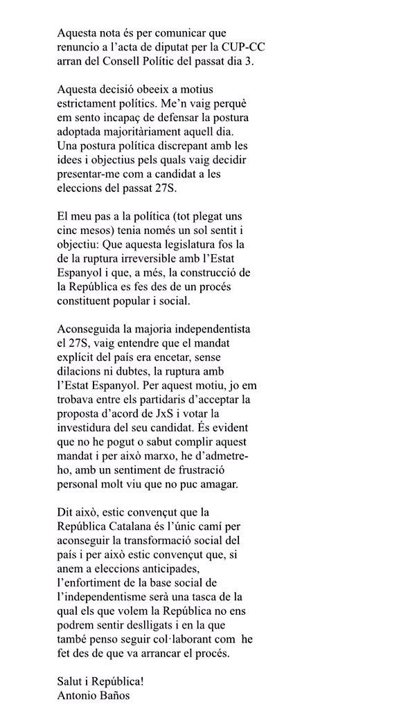 """El """"sentiment de frustració"""" d'@antoniobanos_ és el de la gran majoria d'independentistes. L'honoren fets i paraules https://t.co/01grNT8vGK"""