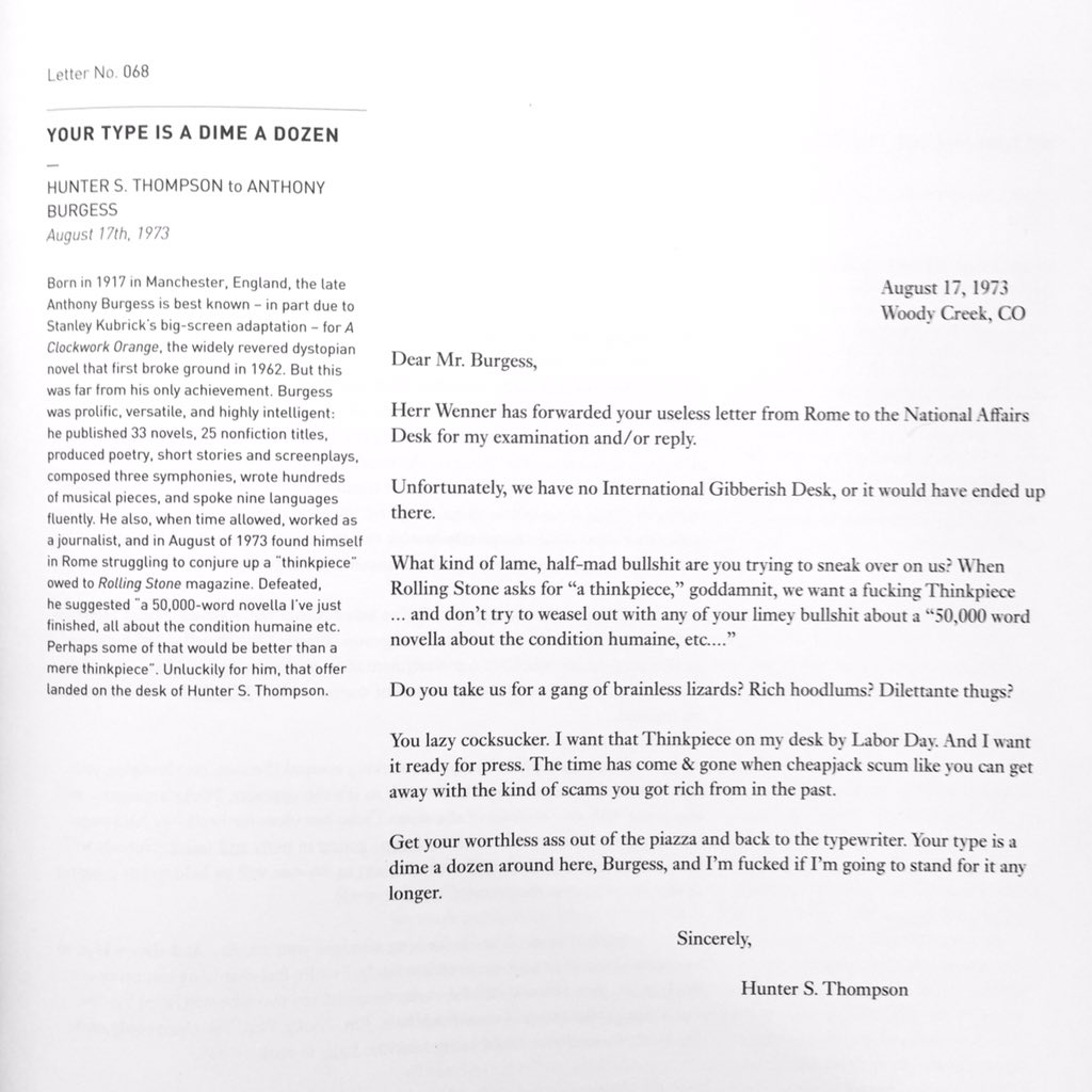 You think your editor is tough on you? You don't know tough. (from the wonderful vol.2 of @LettersOfNote) https://t.co/N8Tke8xxce