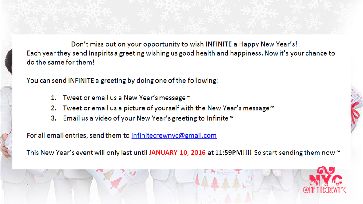 tweet or email your messages wishing infinite a happy new years httpstcosnssc1u2lw
