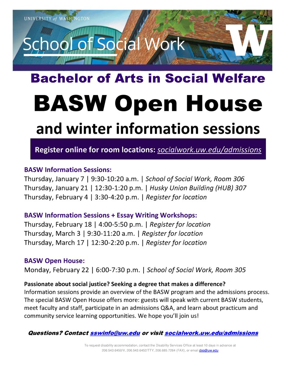 Uw Social Work On Twitter Join Us Bachelor Of Arts In Social  Uw Social Work On Twitter Join Us Bachelor Of Arts In Social Welfare  Feb  Open House  Winter Basw Info Sessions Httpstcouvimxtw
