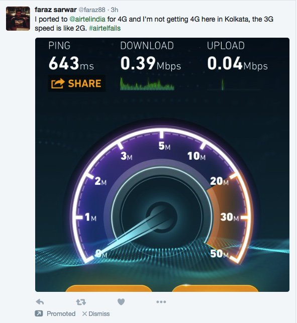 this guy is so angry with airtel he wrote a tweet bitching about their 3G speeds AND THEN PROMOTED IT https://t.co/wsBQAXrgkh