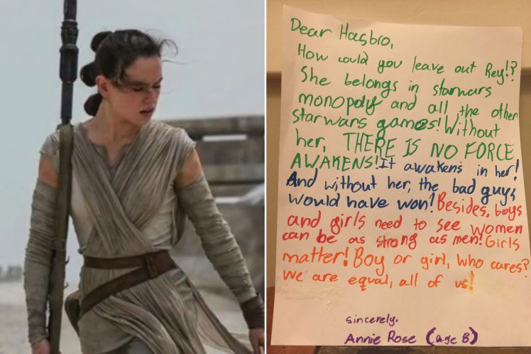Girl, 8, writes letter asking #WheresRey after character is left out of Star Wars Monopoly  https://t.co/iq7LesTcth https://t.co/u0jVRffU4f