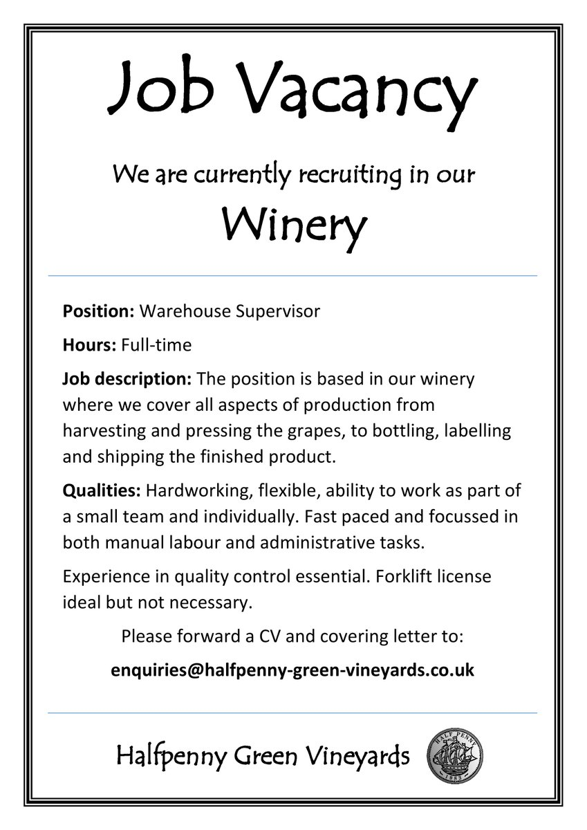 Halfpenny Green On Twitter Job Vacancy We Have A Vacancy In Our Winery For  A Warehouse
