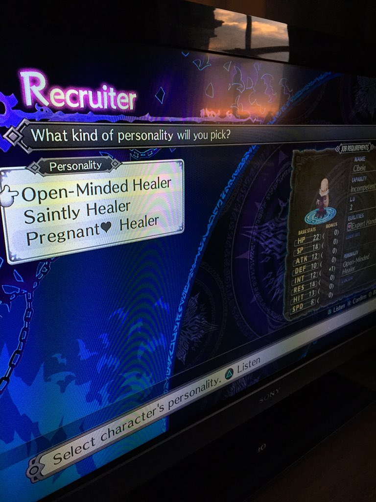 Playing Disgaea 5. I can select the personality of my troops! That's cool-- wait hang on https://t.co/XyZPEOE36O