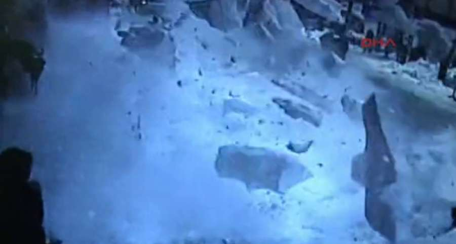 Video YouTube: Drammatico video della neve che travolge i passanti in Turchia