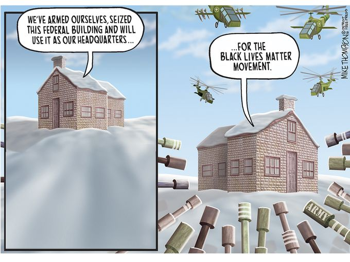 White supremacist gunmen in Oregon vs. Black Lives Matter, cartoon