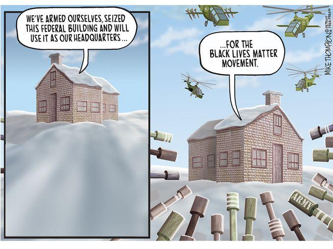 White supremacist gunmen in Oregon vs. Black Lives Matter, cartoon