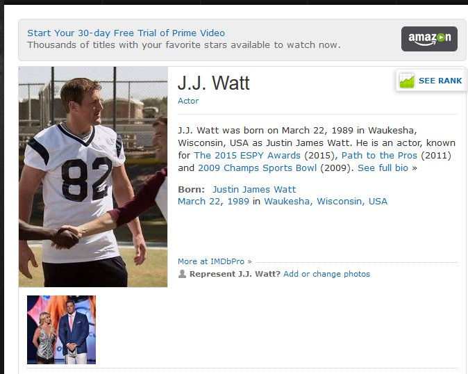 new style 4e591 db6f7 Profile Wrong : JJ Watt IMDB Profile Wrong | Terez Owens ...
