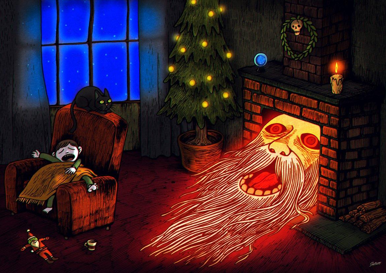 クリスマスには不気味サンタイラストを描くのがいつのまにか毎年恒例になってしまった。特に意味はないけど。 クリスマスに恨みもないです。メリクリです。 https://t.co/IfqAP8RP8h