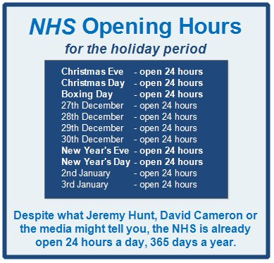 NHS Opening Hours for the holiday period: #NHSworkingXmas cc @IminworkJeremy @Jeremy_Hunt @David_Cameron #NHS https://t.co/LVMABuVgv0