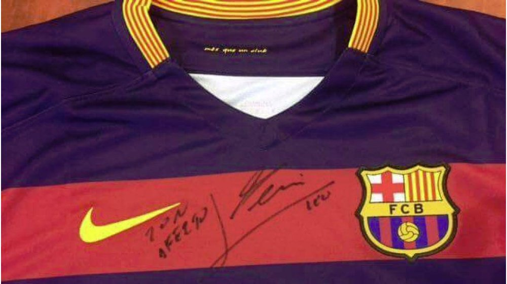 detailed look 441f8 83f4e Barça Bosnia : Messi autographed Barça shirt children ...