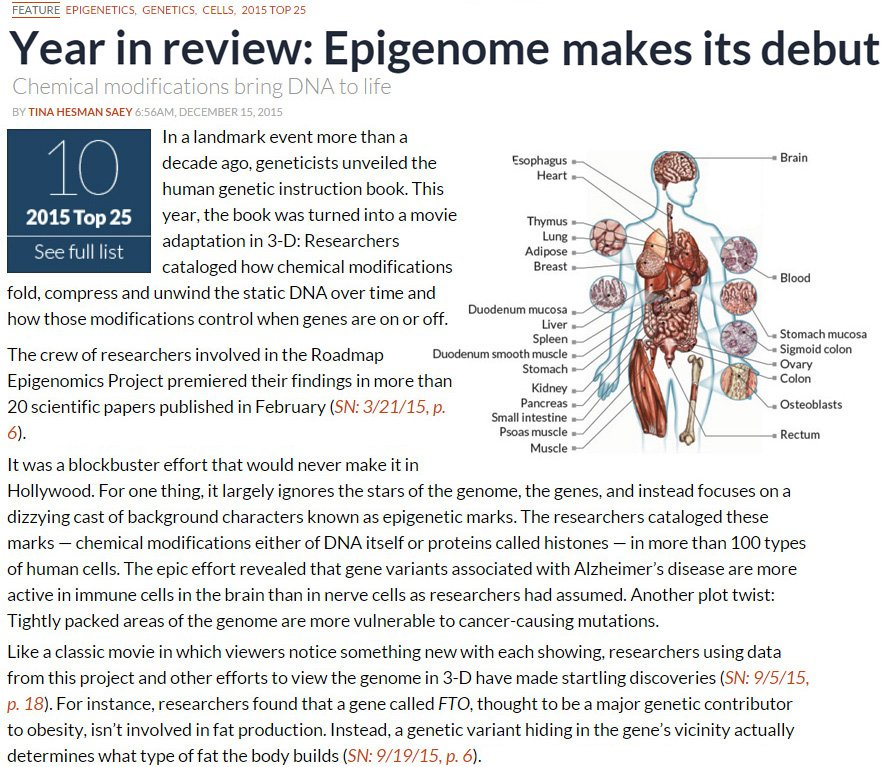 #Epigenomics is @ScienceNews Top#10 of 2015 with #RoadmapEpigenomics and #FTOlocus Congrats! https://t.co/ZL0eamUa9S https://t.co/0Mth4Ef5wB