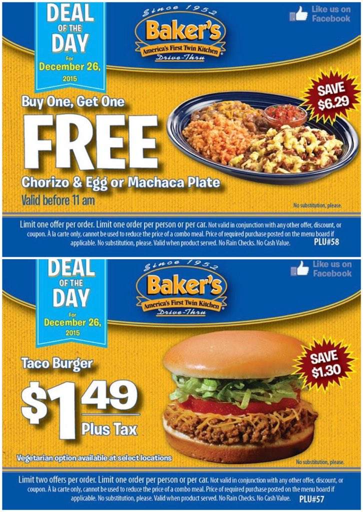 bakers deal of the day