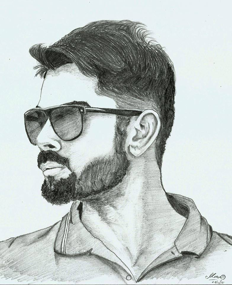 Cricfit on twitter pencil sketch of virat kohli by his fan mano https t co cclxsqejfu